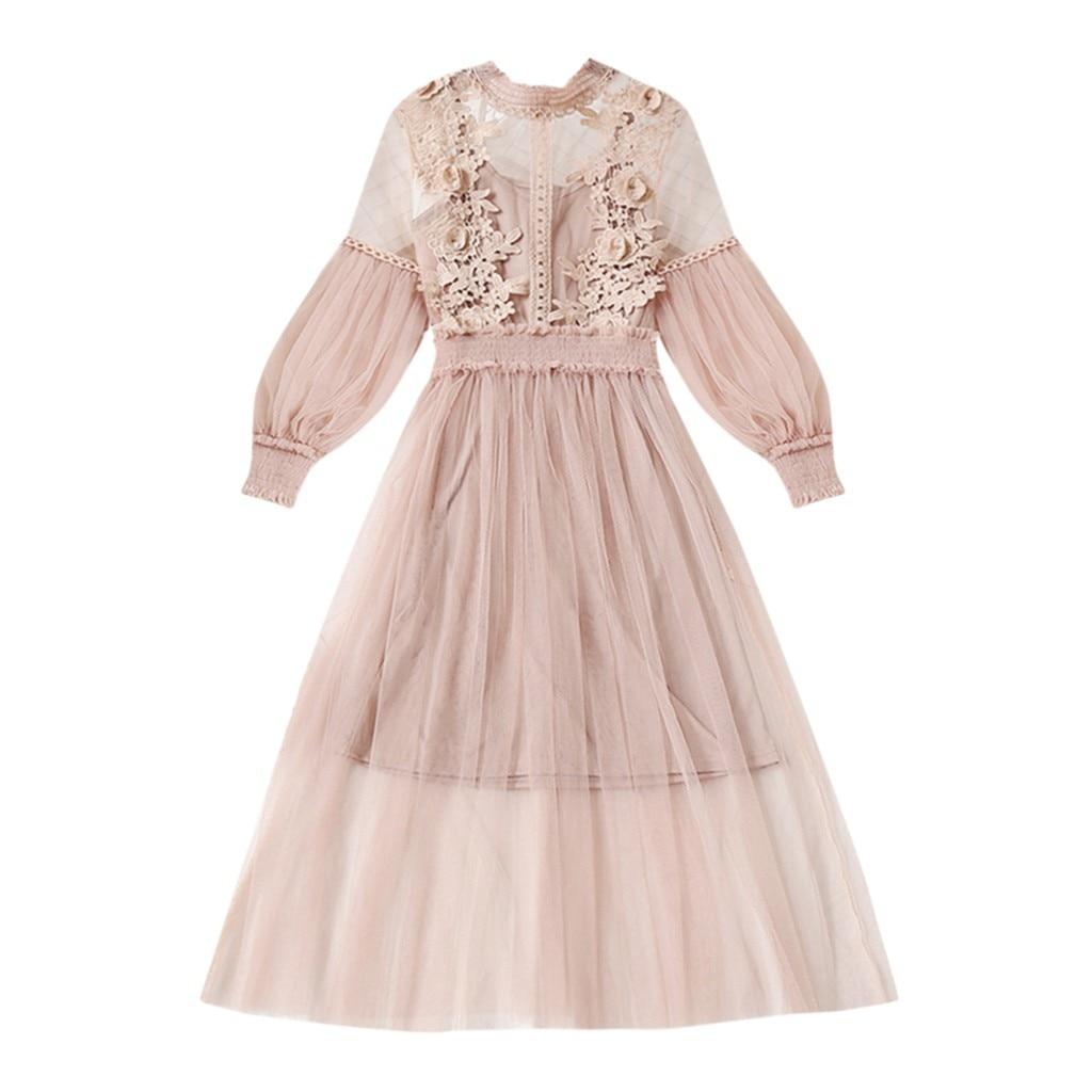 plus size dress women Flower Embroidered winter dresses Lantern Sleeve Button Two-Piece Dress sukienka robe hiver femme