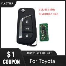 YLKGTTER 3 кнопки флип умный дистанционный ключ для Toyota Aygo Corolla Yaris Camry Verso с 315/433 МГц 4D67 ID67 транспондерный чип