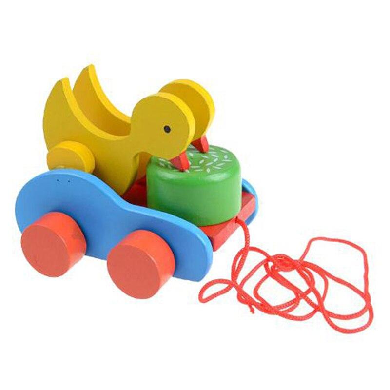 Деревянная утка прицеп автомобиль игрушки милый утенок новорожденные дети игрушка Ранние развивающие игрушки Детский подарок
