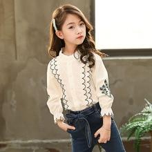 Новые весенние товары, Детский костюм рубашка с вышивкой и кружевным воротником в Корейском стиле для девочек