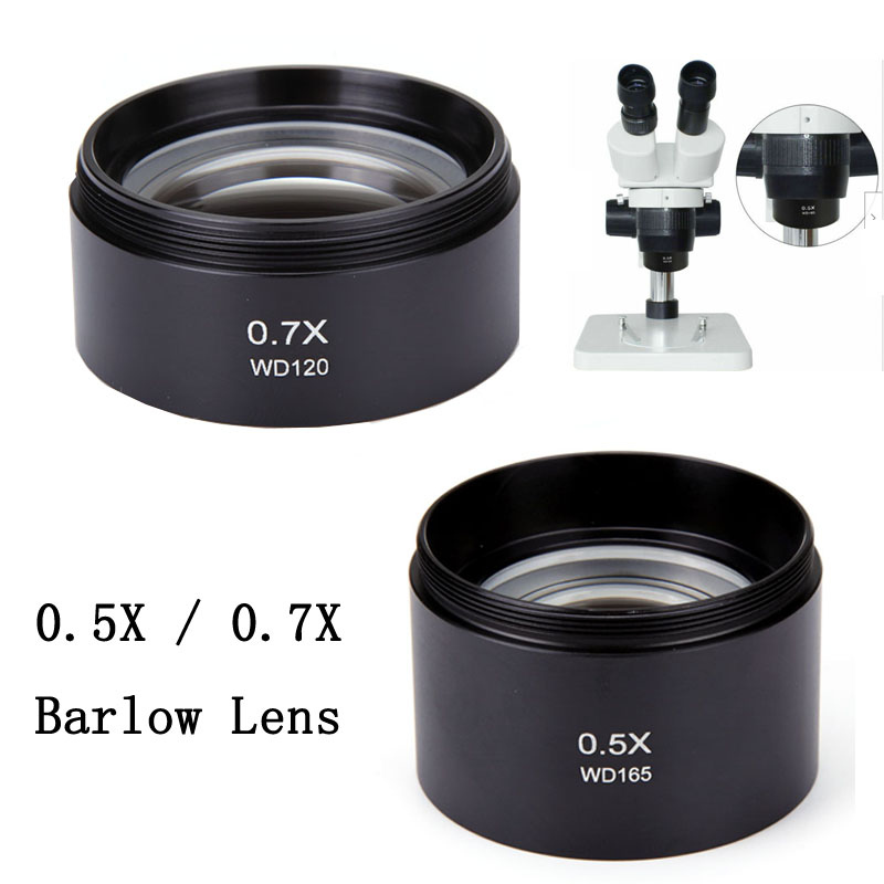 0.5X 0.7X Barlow Lens Stereo Microscope Auxiliary Lens Barlow Objective Lens Binocular  Trinocular Microscope Parts