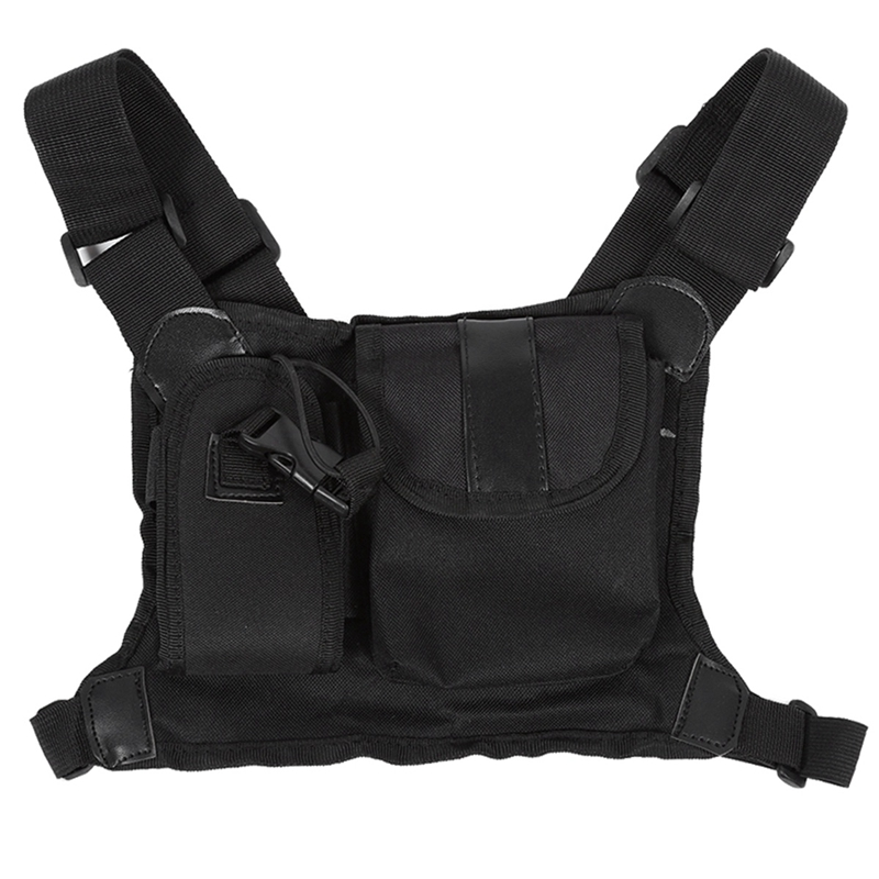Walkie Talkie Bag Chest Rig Bag Functional Waist Packs Adjustable Radio Accessory Pouch Holder Carry Case