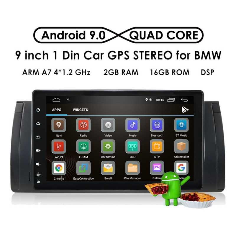 9 بوصة أندرويد 9.1 2 + 16G سيارة لتحديد المواقع والملاحة مشغل وسائط متعددة بلوتوث Autoradio سيارة مشغل إستريو لسيارات BMW E39 E53 X5
