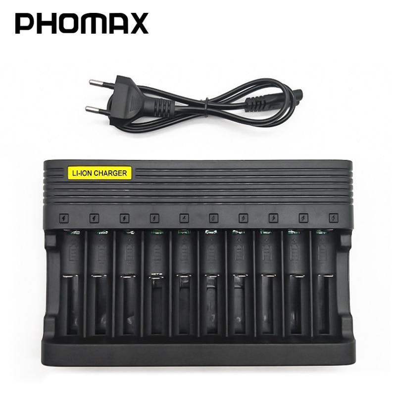 PHOMAX 10 Slot 4.2V LED Smart Display Light Fast Charge EU IMR /Li-ion 18650 17650 22650 AA AAA Rechargeable Battery Charger