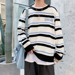 Winter Striped Sweater Men Warm Fashion Contrast Color Casual Knit Sweaters Man Sweter Loose Long-sleeved Pullover Men Clothes
