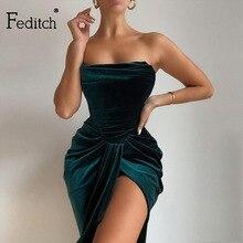 Velvet Dress Ruched Strapless Elegant Feditch Green Draped Winter Outfits High-Split