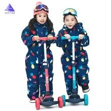 Векторный теплый детский лыжный костюм с капюшоном, комбинезон для сноуборда, синтетическая зимняя уличная водонепроницаемая ветрозащитн...