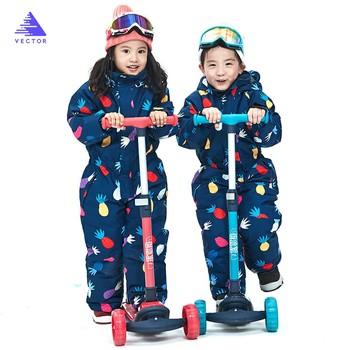 Wektor ciepłe dzieci kombinezon narciarski z kapturem ogólnie syntetyczny śnieg zima na zewnątrz wodoodporna wiatroszczelna chłopiec dziewczyny narciarstwo ubrania tanie i dobre opinie VECTOR Pasuje prawda na wymiar weź swój normalny rozmiar Chłopcy HXF70032 Cartoon Poliester