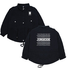BTS Coat Bulletproof Boys Related Products Trench Coat Retro Hong Kong Flavor Casual Tooling Jacket Spring And Autumn Mid-length