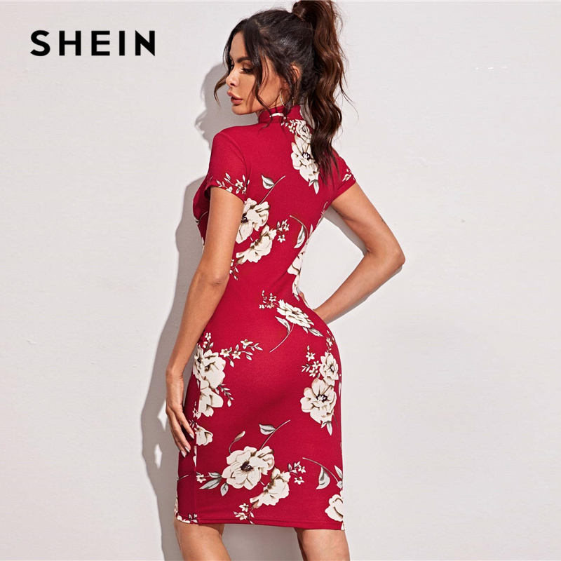 SHEIN Black Mock-Neck Floral Print Bodycon Dress Women 2020 Spring Stand Collar Short Sleeve Elegant Fitted Midi Dresses 5