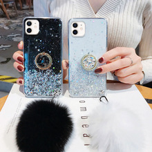 Fur Ball Holder Case for iPhone 12 11 Pro Max Mini Case Glitter Silicon XR X XS Max Phone Cover on iPhone 7 8 6 6S Plus SE 2020