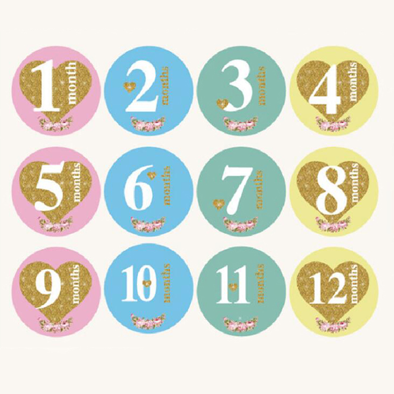 Month Card Stickers Newborn Baby Monthly Photos Funny Cartoon Photo Cards Photography Accessories Baby Growth Album