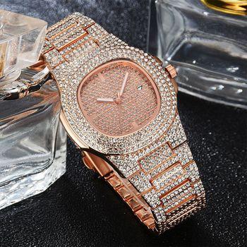 2020 Fashion Women Rose Gold Watches Luxury Steel Rhinestone Quartz Clock Ladies Saat Full Diamonds Watch Relogio Feminino creative watch women oval dial rhinestone quartz bangle clock full steel analog quartz saats hot relogio feminino