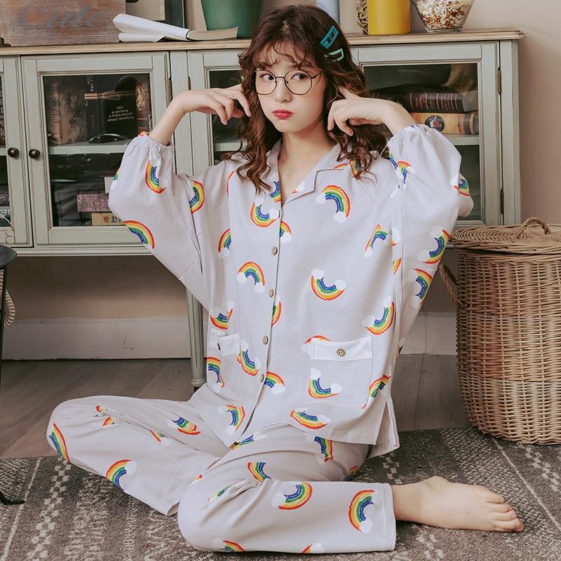 BZEL Hot Sale Pajamas Sets For Women Stylish Cartoon Pijamas Long Sleeves Long Pans Ladies Pyjamas Casual Homewear Big Size XXXLPajama Sets   -