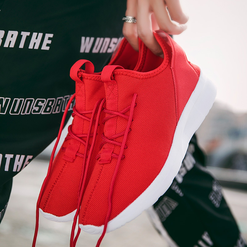 2018 Black White Red Casual Shoes High top Sneakers Men Shoes Breathable Mesh Male Shoes S2558