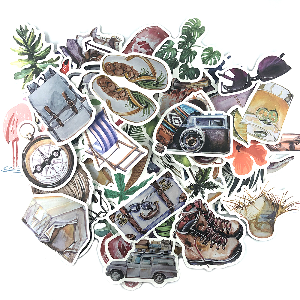 Outdoor Camping <font><b>Stickers</b></font> Summer Plant Travel Scrapbook <font><b>Sticker</b></font> Set Waterproof 70pcs No Repeating image