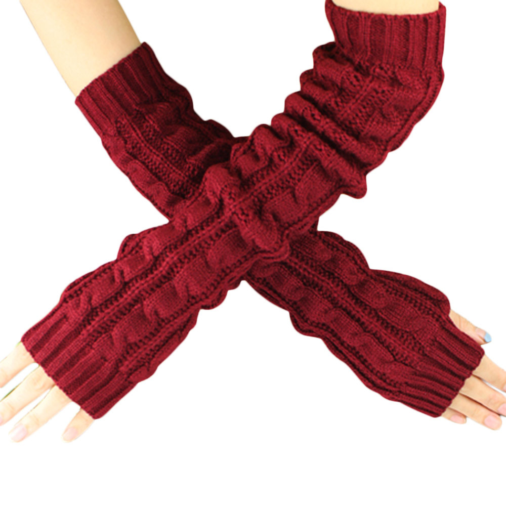 Spring Autumn Women Wool Arm Warmers Winter Fashion Fingerless Gloves Button Knitted Mitten Long Gloves Guantes Tactical Gloves in Women 39 s Gloves from Apparel Accessories