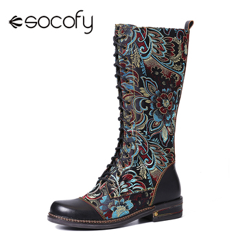 SOCOFY Flowers Pattern Colorful Stitching Elegant Zipper Lace Up Flat Mid Calf Boots Shoes Women Botas  Mujer - discount item  50% OFF Women's Shoes