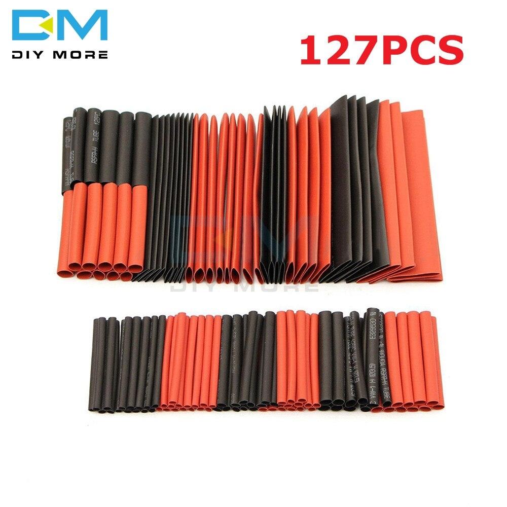 127 шт Красный Черный Полиолефин Термоусадочные трубки комплект кабельных трубчатых оплёток Комплект проводов PE термоусадочный комплект