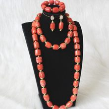 4UJewelry Long Design Jewelry Set 2 Layers Indian African Bridal Necklace Set For Women 15mm-22mm Bride Jewellery Set 100% Coral Beads(China)