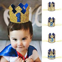 1 2 3 Years Old Birthday Hat Baby Shower Decorative Headband Children's Party Crown Hat Blue Gold #C(China)