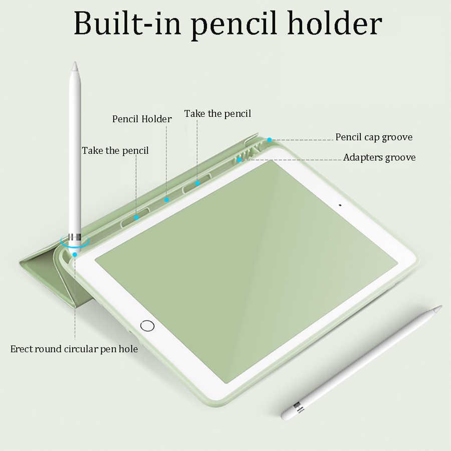 Capa flip suporte para lápis para ipad, estojo para ipad 10.2 ipad pro 11 2020 9.7 tpu para ipad 2018 air 3 capa casual ipad mini 4 5, 2019