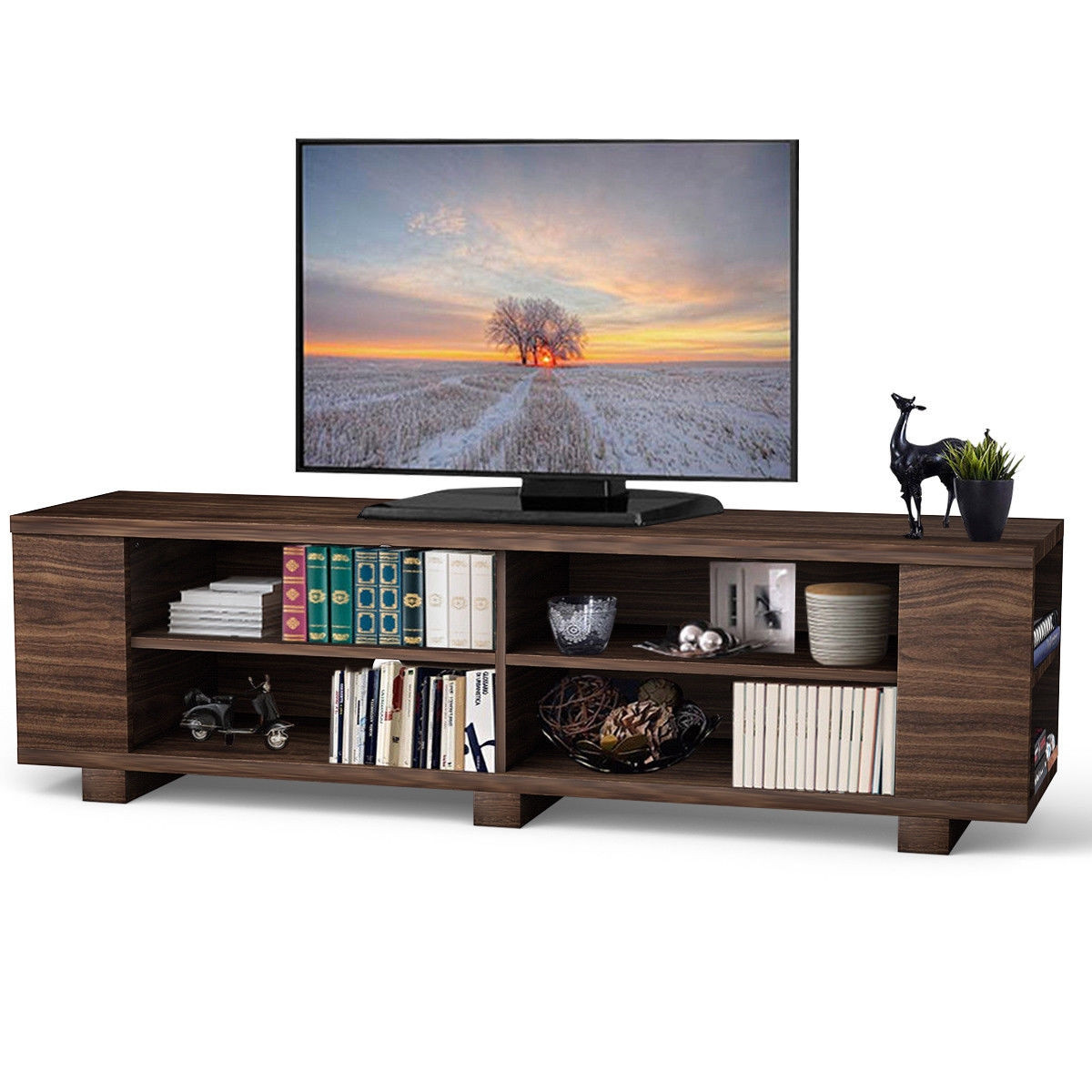 "59"" Console Storage Entertainment Media Wood TV Stand HW60170"