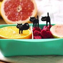 6pcs/set Black Cat Fruit Fork Cute Cartoon Baby Toothpick Gadgets Kitten Dessert Decoration Kitchen Accessories