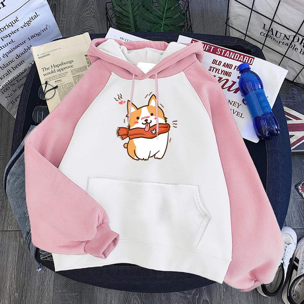 Corgi Wearing A Scarf Printing Warm New Womens Hoodie Aesthetic Fashion Raglan Sweatshirts For Women Loose Punk Female Hoodies 1