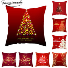 Fuwatacchi Red Pattern Cushion Cover Christmas Festival Style Pillow Home Sofa Car Decorative Throw Pillowcase 45x45cm
