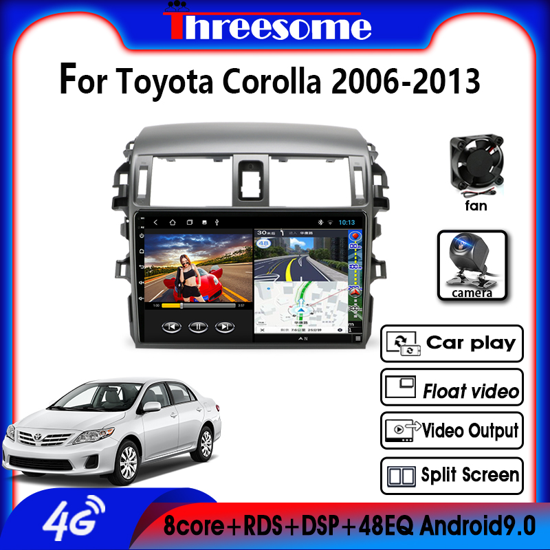 Android9.0 4G NET 2 DIN 4G+64G GPS Navigation RDS Car Radio Multimedia Player For <font><b>Toyota</b></font> <font><b>Corolla</b></font> <font><b>E140/150</b></font> 2006-2013 AutoStereo image