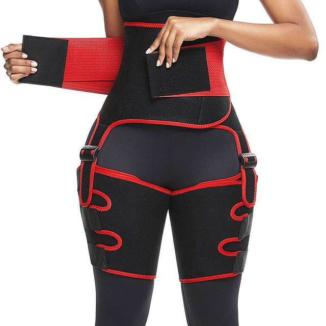 Genuine Yinuo Female Three-in-one Hip Belt Burst Sweat SBR Belt Sports Bodybuilding Adjustable One-piece Waist Belt Leg Belt 1