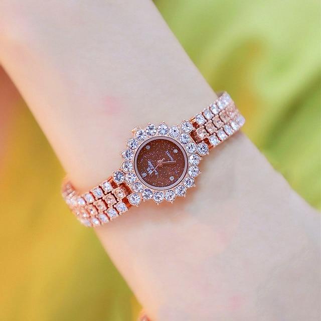 Watches Womens 2020 Top Luxury Brand Small Dress Diamond Watch Women Bracelet Rhinestone Wristwatch Women Montre Femme  9