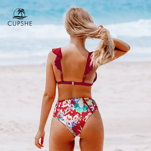 CUPSHE Red Floral Ruffled High-Waisted Bikini Sets Sexy Padded Cups Swimsuit Two Pieces Swimwear Women 2020 Beach Bathing Suits