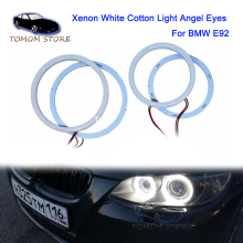 цена на 1 set White Halo Cotton Light car smd LED Angel eyes for BMW E92 2x100mm+2x120mm error free car lamps styling