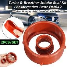 Anel de vedação de admissão do turbo de 2 pces & selo do respiradouro do motor para mercedes-benz om642
