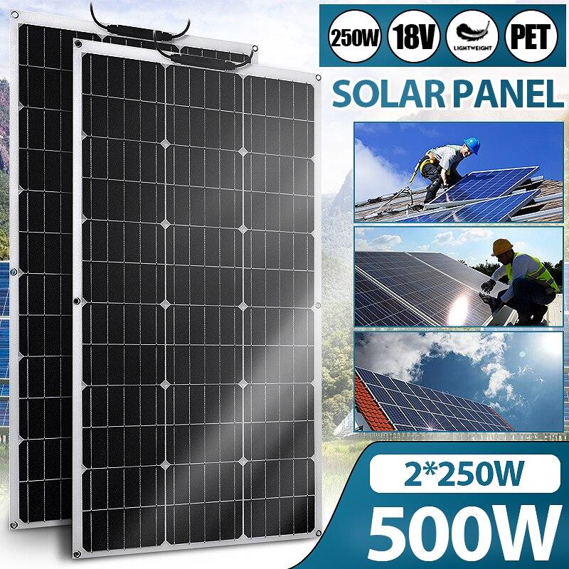 Гибкая солнечная панель ETFE, 18 в, 250 500 Вт, высокоэффективное зарядное устройство для смартфонов, автомобильное зарядное устройство для домов ...