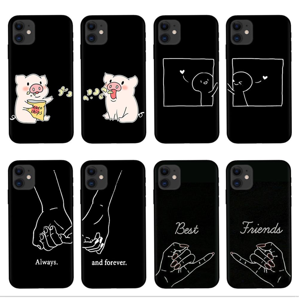 Always And Forever Best Friends Cartoon <font><b>BFF</b></font> <font><b>Phone</b></font> <font><b>Case</b></font> For iPhone 11 Pro XS Max XR X 8 7 6 6S Plus 5S SE Soft Silicone Cover image