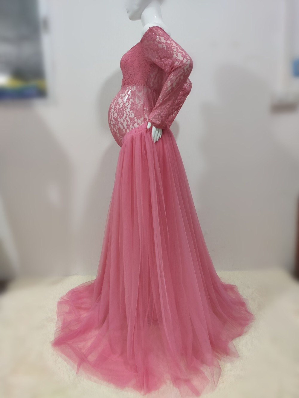 Sexy Lace Maternity Photography Props Long Dress Baby Shower Fancy Pregnancy Dress Photo Shoot For Pregnant Women Mesh Maxi Gown (8)