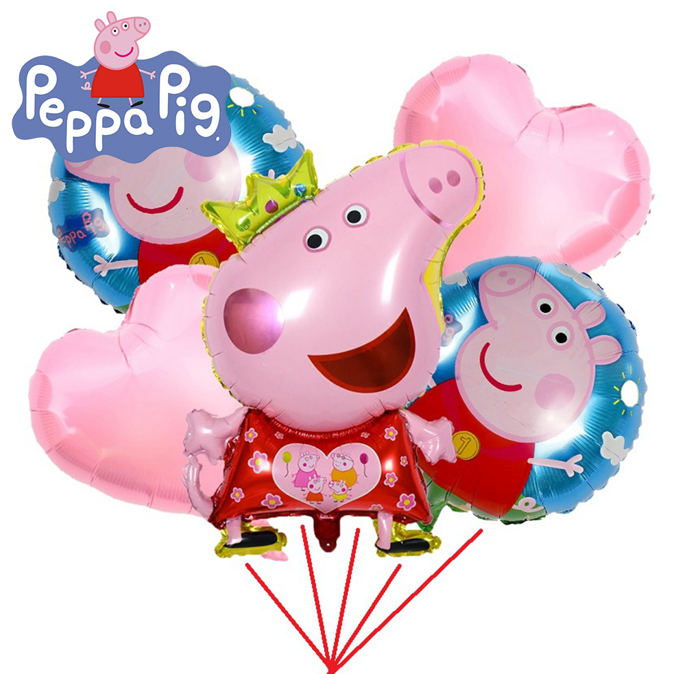 Peppa Pig Foil Balloons 5 Pcs/Set Cartoon Peppa George Balloons 20 Kinds Of Balloon Birthday Gift Birthday Party Decorations