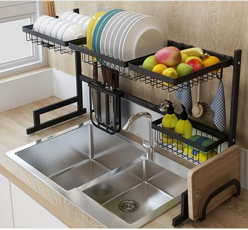 Metal Dish Drainer Sink Holder Strong Bearing Capacity Plate Rack Kitchen Dish Dryer Wall Hooks Kitchen Organizer Storage Shelf