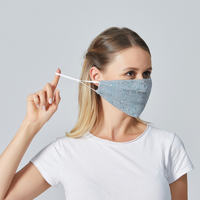 Women Summer Sequin Mask Anti-Haze Shining Party Activated carbon Windproof Mouth muffle bacteria proof Flu Face masks 2