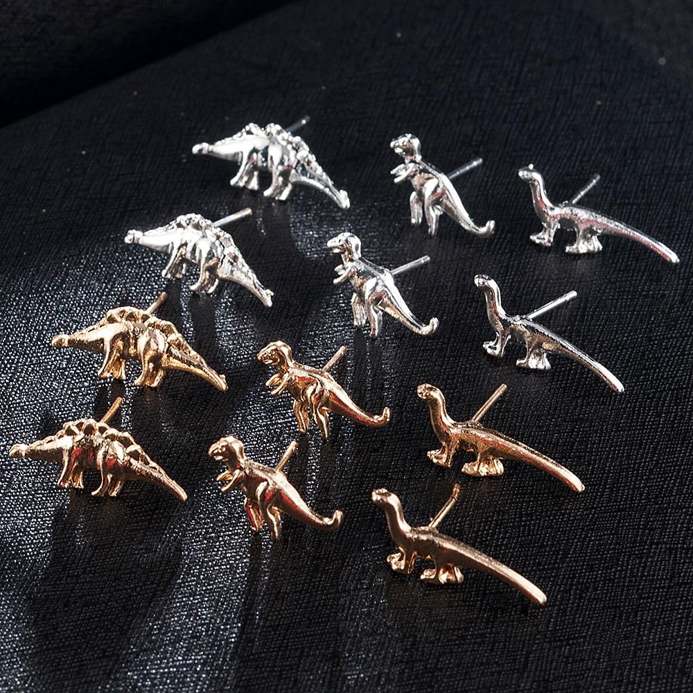 3Pairs Fashion Women Men Dinosaur Shape Metal Cute Ear Stud Small Earring Party Gift Earrings Jewelry