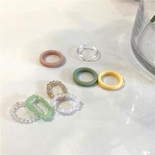 Moda Trendy koreański Handmade wielokolorowy mały kryształ koraliki pierścień kobiety dziewczyna biżuteria Stretch splot styl ułożone pierścienie Party tanie tanio belleper CN (pochodzenie) Brak Żywica Zespoły weselne GEOMETRIC Wszystko kompatybilny RI20Y0087-RI20Y0090 Pierścionki