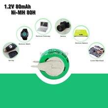 Neue 1,2 V 80mAh Ni-Mh Ni MH Akkus Mit Solder Pins Wiederaufladbare Knopf Zelle Batterie Für Elektrische Spielzeug