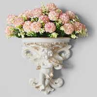 Garden Wall Hanging Art Angel Shape Rococo Shelf Corbel Stereoscopic Living Room Home Decoration Plaster Cupid Flower Pot Crafts