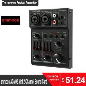 Audio-Mixer Sound-Card Mixing-Console Ammoon Phantom Power Digital AGM02 Mini 2-Channel