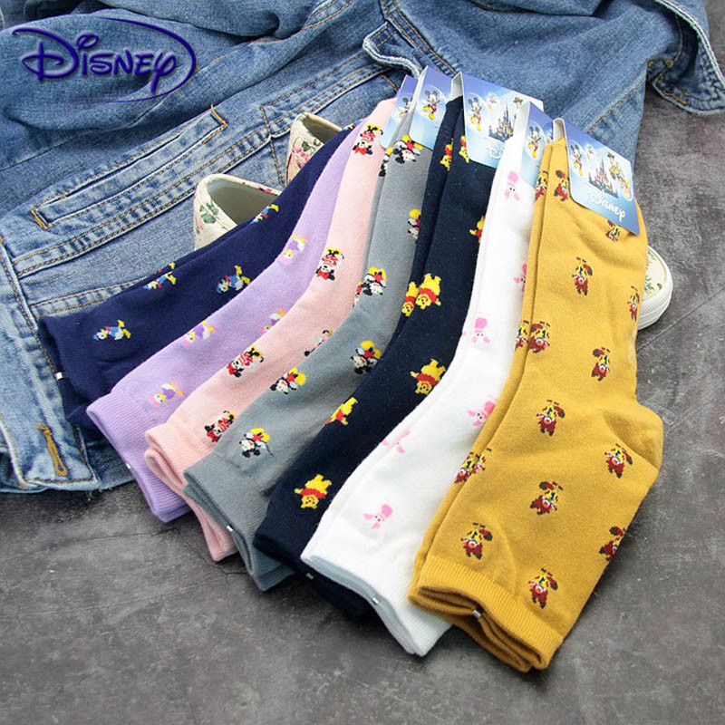 Disney Cartoon Cute Tube Autumn And Winter Warm Sweat Candy Cotton Ladies Socks Cartoon Fashion Minnie Mickey Socks