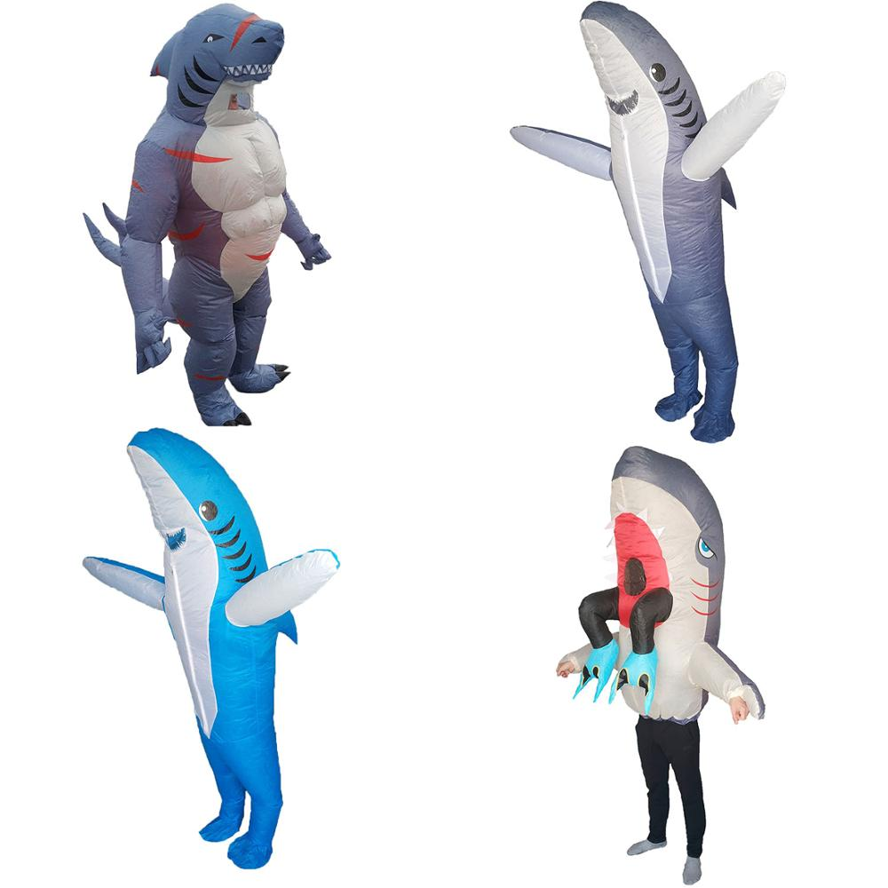 Women Men Shark Costume Inflatable Blow Up Fancy Dress Halloween Party Costume for Adults Animal Mascot Carnival Cosplay Outfits image