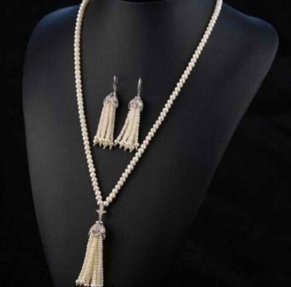תכשיטי סט 100% מכירת מלא אופנה Natual 8-9mm לבן עגול מים מתוקים פרל עם ציצית שרשרת ועגילים משלוח חינם